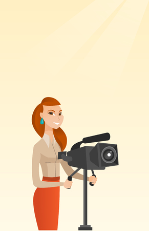 Female operator looking through a movie camera on a tripod. Young caucasian operator with a professional video camera. Female operator taking a video. Vector flat design illustration. Vertical layout. 向量圖像