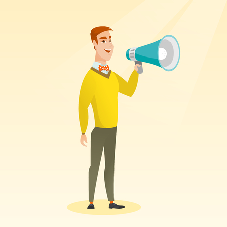 loud speaker: Young caucasian man holding a megaphone. Man promoter speaking into a megaphone. Man advertising using a megaphone. Social media marketing concept. Vector flat design illustration. Square layout.