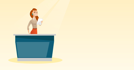 Television anchorwoman working in the studio. Vector flat design illustration. Horizontal layout.