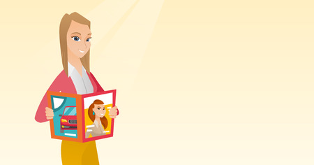 Caucasian woman reading a magazine. Young woman standing with a magazine in hands. Vector flat design illustration. Horizontal layout. Illustration