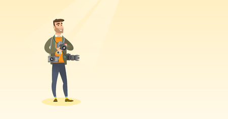 Cheerful paparazzi with many cameras. Professional journalist with many cameras. Vector flat design illustration. Horizontal layout Illustration