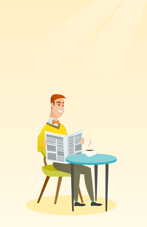 Caucasian man reading a newspaper in a cafe. Vector flat design illustration. Vertical layout.