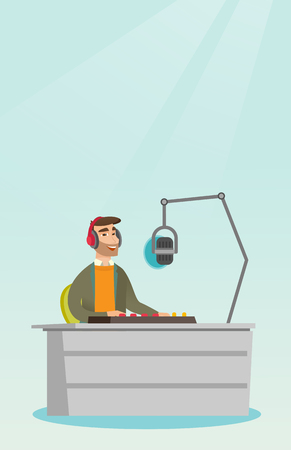 Young dj working in front of microphone, computer and mixing console on the radio. Caucasian news presenter in headset working on the radio station. Vector flat design illustration. Vertical layout. Illustration