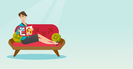 Young caucasian woman reading a magazine. Woman sitting on the couch and reading a magazine. Woman sitting on the couch with a magazine in hands. Vector flat design illustration. Horizontal layout. Illustration