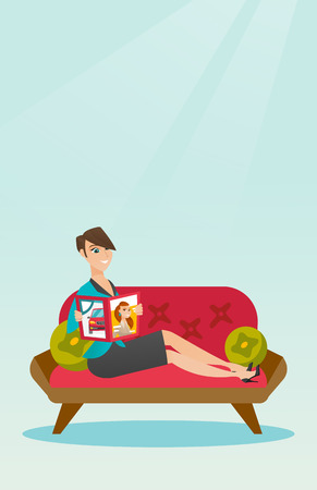 Young caucasian woman reading a magazine. Happy woman sitting on the couch and reading a magazine. Woman sitting on the couch with a magazine in hands. Vector flat design illustration. Vertical layout Illustration