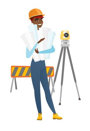 geodesy: Engineer holding twisted blueprints. Illustration