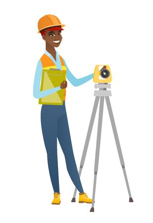 geodesy: African surveyor builder working with theodolite.