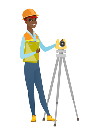 African surveyor builder working with theodolite.