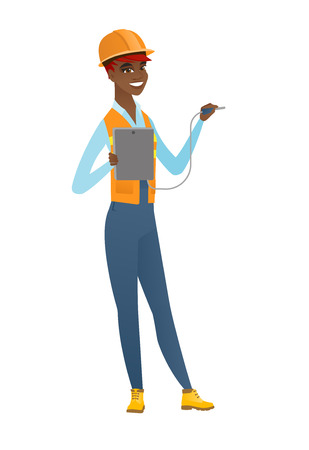 African electrician with electrical equipment. Ilustração