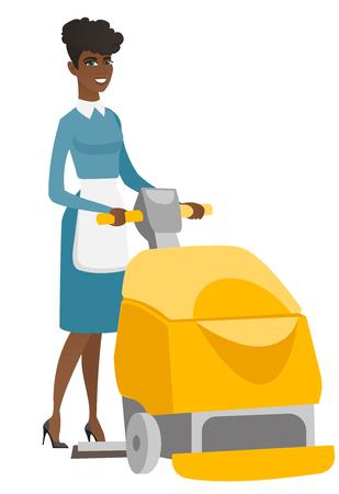 Trabajador afroamericano que limpia el piso de la tienda con la máquina. Mujer que usa la máquina de la limpieza para limpiar el piso en supermercado. Servicio de limpieza. Ilustración de diseño plano de vector aislado sobre fondo blanco. Vectores