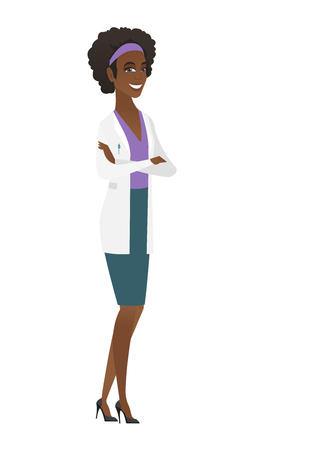 arms folded: Young african confident doctor with folded arms.