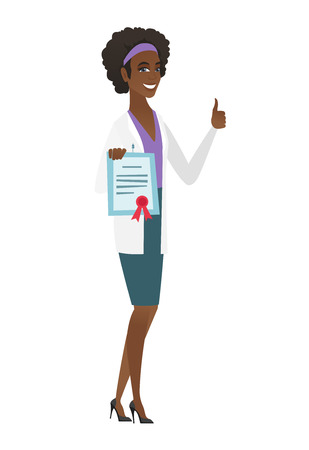 Young african-american doctor holding certificate. Illustration
