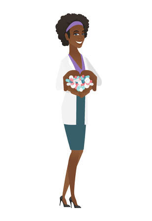 African-american doctor holding lots of pills in hands. Young doctor in medical gown with handful of pills. Cheerful doctor giving pills. Vector flat design illustration isolated on white background.