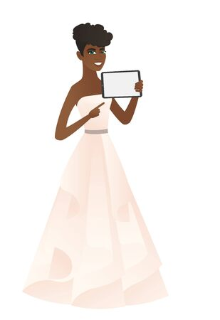 African fiancee holding a tablet computer. Full length of young fiancee pointing at the tablet computer. Fiancee with a tablet computer. Vector flat design illustration isolated on white background.