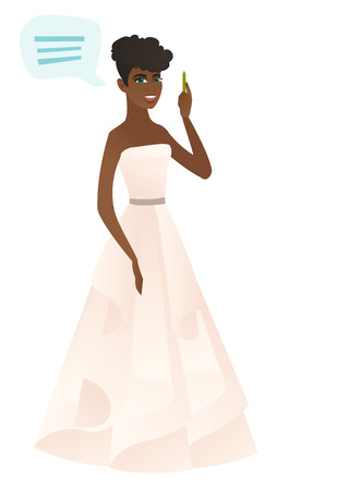 African-american fiancee with speech bubble. Full lemgth of fiancee giving a speech. Fiancee with speech bubble coming out of her head. Vector flat design illustration isolated on white background.