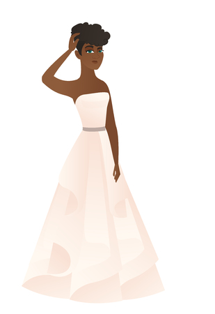 African-american fiancee scratching her head. Full length of young thoughtful fiancee scratching head. Puzzled fiancee scratching her head. Vector flat design illustration isolated on white background Illustration