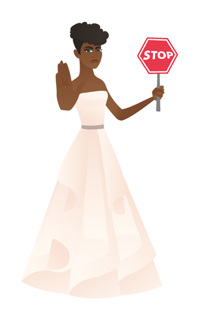 African-american fiancee in white dress showing stop road sign. Full length of fiancee holding stop road sign. Fiancee with stop road sign. Vector flat design illustration isolated on white background