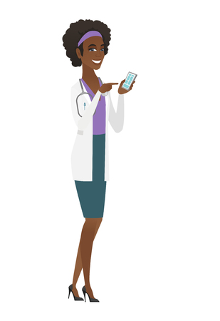 Happy doctor in medical gown holding mobile phone and pointing at it. Full length of doctor with mobile phone. Doctor using mobile phone. Vector flat design illustration isolated on white background.