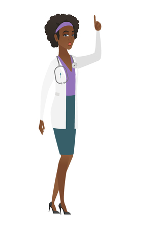 came: Surprised african doctor in medical gown with open mouth pointing finger up. Full length of young doctor with open mouth came up with idea. Vector flat design illustration isolated on white background Illustration
