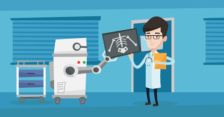 automate: Doctor examining radiograph with help of robot.