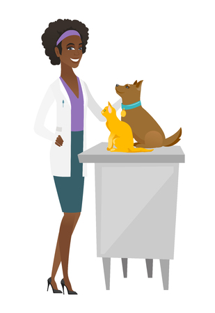 Veterinarian examining pets vector illustration. Illustration