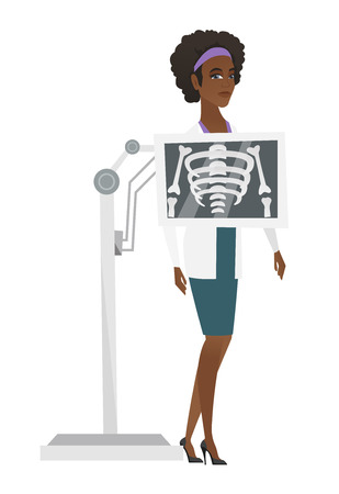 Doctor during x ray procedure vector illustration