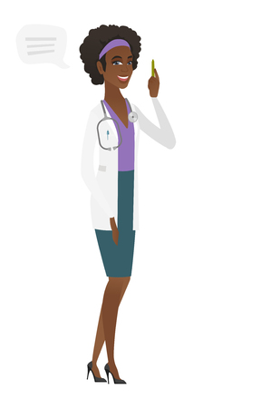 Young african-american doctor with speech bubble. Çizim