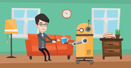 Domestic robot brings cup of coffee to his owner. Illustration