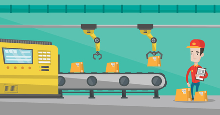 Robotic arm working on production line.