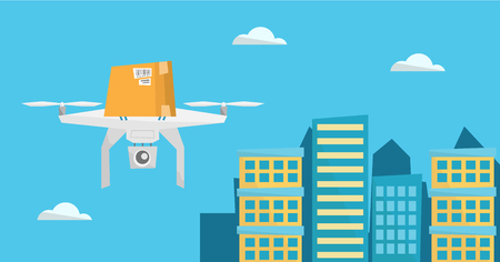 Delivery drone delivering post package to customer Çizim