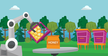 Robot beekeeper gathering honey from beehive. Illustration