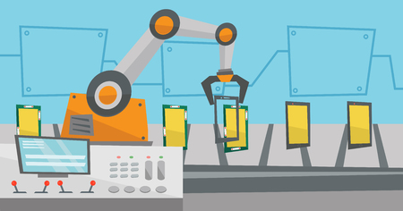 automated: Automated robotic production line of smartphones. Illustration