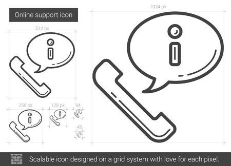 Online support line icon. Illustration
