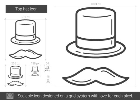 bowler hat: Top hat line icon.