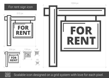 for rental: For rent sign line icon.