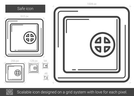 drawn metal: Safe line icon.