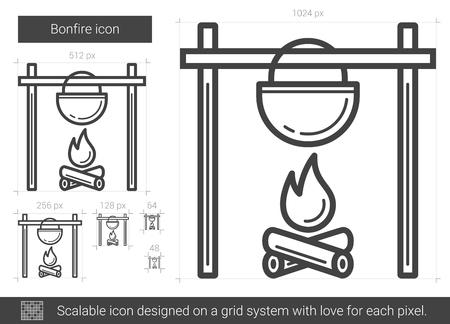 Bonfire line icon.