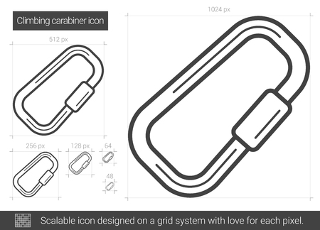 Climbing carabiner line icon.