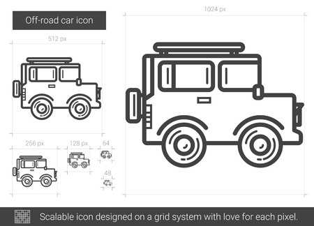 Off-road car line icon.