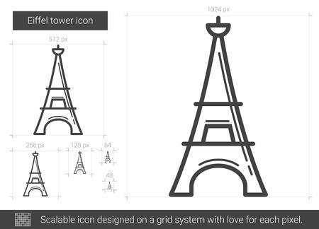 metal grid: Eiffel tower line icon.