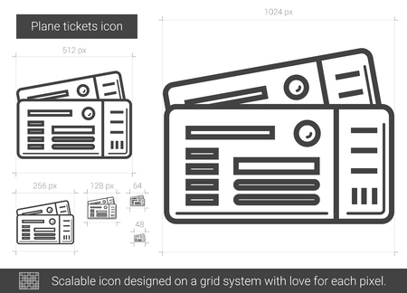 scalable: Plane tickets line icon.