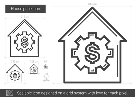 scalable: House price line icon.
