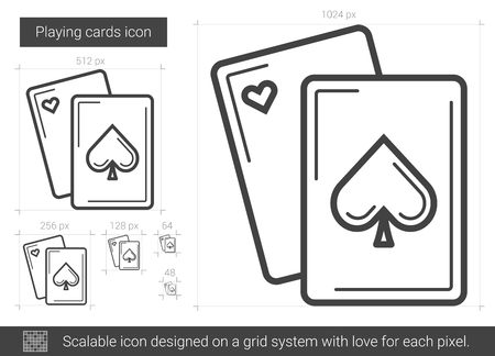 Playing cards line icon. Illustration