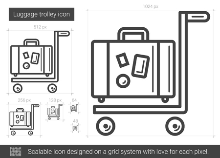 Luggage trolley line icon.