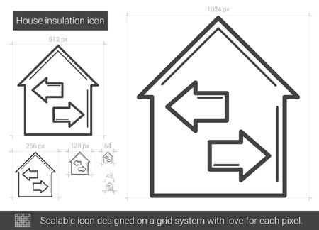 resale: House insulation line icon. Illustration