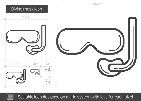 Diving mask line icon.