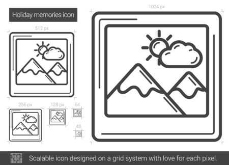 scalable: Holiday memories line icon. Illustration