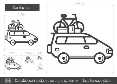 family holiday: Car trip line icon. Illustration