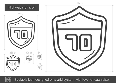 scalable: Highway sign line icon.