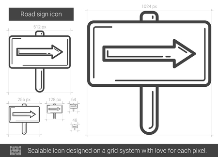 geographical: Road sign line icon.